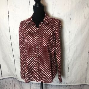 Halogen Womens Blouse Size Small Red White Apple